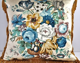 Vintage Fabric fringed Cushion in Blue Florals by Sanderson