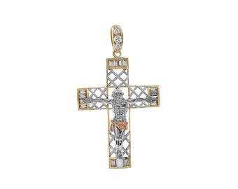 2.50 Carat Round & Baguette Cut Cubic Zirconia Crucifix Pendant 14K Two Tone Gold