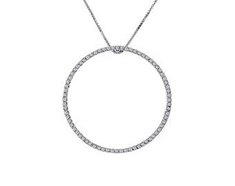 "1.00 Carat Round Cut Diamond Circle of Love Pendant in 16"" Chain 14K White Gold"