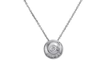 0.35 Carat Round Cut Diamond Pendant Necklace 14K White Gold