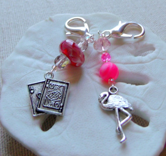 Pink Alice in wonderland zipper pulls- pink tea party charms - cards-- Mr rabbit story book - stitch marker - knitting  gift -LizPoriginals