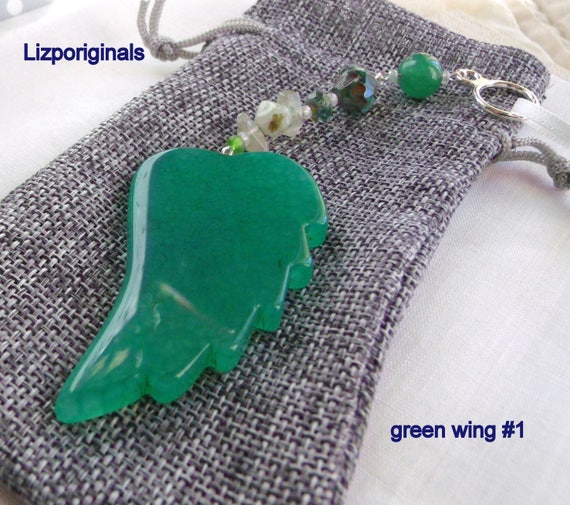 Wing ornaments - green hope decor - agate pendants - angel wings - protection - get well Gift - St Patrick's day - gemstone - Lizporiginals