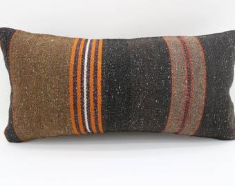 10x20 turkish kilim pillow lumbar pillow decorative kilim pillow orange striped kilim pillow bedrrom pillow ethnic pillow SP2550-1535