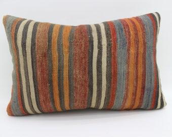 16x24 Kelim Kissen Pillow Striped Kilim Pillow 16x24 Multicolor Kilim Pillow Turkish Decorative Kilim Pillow Distressed Pillow SP4060-1427