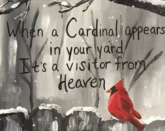 When a Cardinal Appears - When a Cardinal Appears in your yard its a visitor from heaven painting