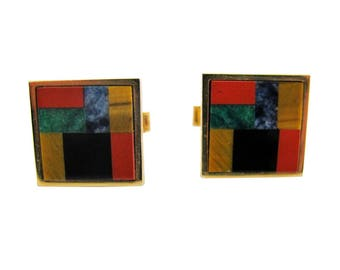 Gold Tone with Multi-Color Gemstone Inlay Cuff Links