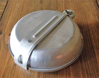 Well used Retro Aluminum Mess Kit Camping Metal Outside Travel minimal midcentury mid century 1960s prop