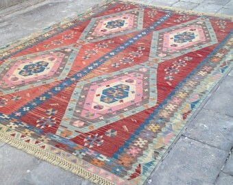 6x9 area rug for living room large and vintage turkish kilim in red blue