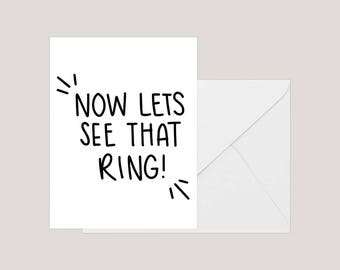 Printable Engagement Card | Greeting Card | Engagement Ring Card | | Wedding Congratulations Card | A2 Card | Engagement Party Card