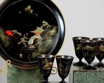 Vintage Black Lacquer Wood Hand Painted Asian Sake Set