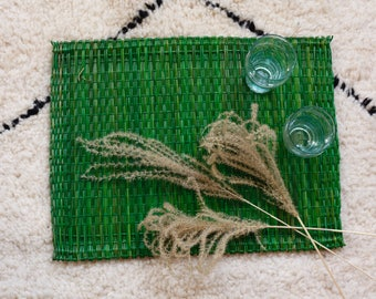 Set of 6 Green Wicker Place Mats  / handmade in Morocco