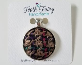 Pendant - Houndstooth - Wool - Cloth Pendant - Multicolored - Statement Necklace