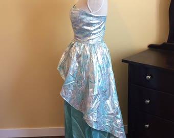 80's Metallic Blue Strapless Party Dress
