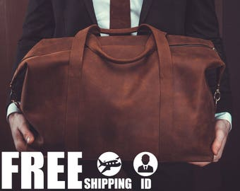leather duffel bag travel bag weekend luggage overnight bag vintage bag brown mens giftgift - Mens Leather Duffle Bag