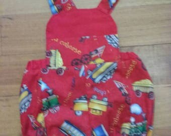Red Caboose Romper with Bib Pocket.