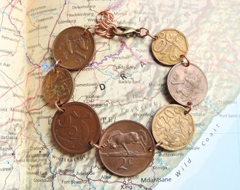South Africa coin bracelet - made of original large coins from Africa - bird -  travel gift - wanderlust - fernweh