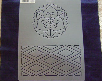 Sashiko Japanese Quilting/Embroidery Stencil 9 in. by 12 in. Old Style Flower and Diamonds Motif Block/Quilting
