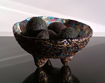 Handmade bowl - paper mashe bowl with a decoupage. Beautiful gift. Candy dish. Fruit bowl.
