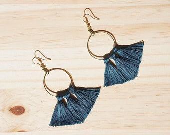 Blue Tassel Earrings, Hoop Tassel Earrings, Gold Earrings