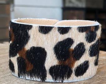 Tan Leopard Print Leather Cuff