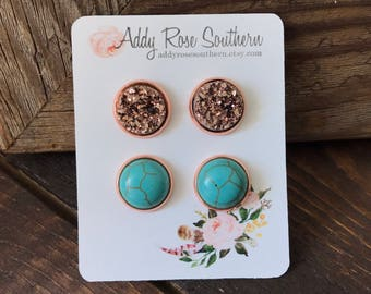 12mm rose gold and turquoise druzy stud set, druzy studs, druzy earrings, rose gold druzy, turquoise earrings, bridesmaid druzy earrings