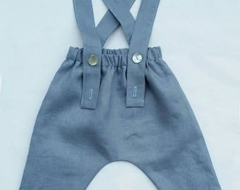 Gray / blue linen bib trousers from birth to 3 years