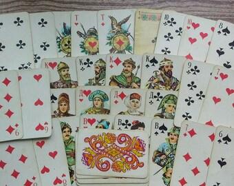 Soviet playing cards Vintage card deck Russian cards deck Souvenir deck Collectible card deck Antique card deck Retro card deck Folk art