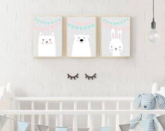 Set of Three Nursery Art Prints , Kids Wall Art, Animals garland