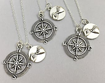 925 Sterling Silver,best friend necklace -set of 3,compass necklaces,compass charms,friendship,3 best friends,gift for bff,long distance bff