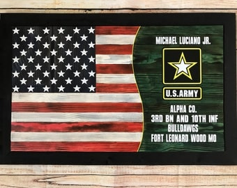 Custom Army/Navy/Air Force/Marines and U.S. Wooden flag wall hanging