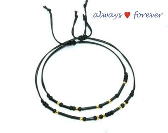 Always Forever Black morse code bracelet Matching Couples bracelet Always Forever His and Hers Matching Bracelet Valentines day gift for him