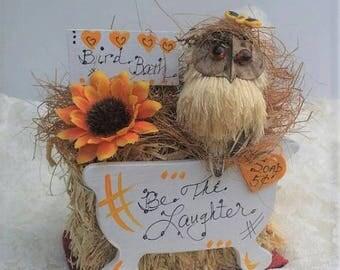 Owl Home Decor,Owl Gift, Owl Office Decor,Country Bird Bath Gift,