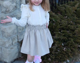 Linen ruffle skirt - girls skirt, baby skirt, toddler skirt, fall skirt