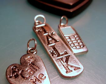 New! 3-Piece Set-Cell Phone Charms-Charms-Silver Charms-Cell Phone Charms-