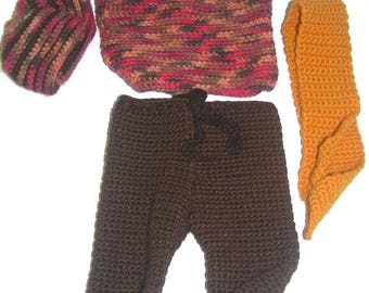 Pants fall baby doll 32 cm crocheted handmade set