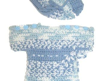 Set short dress and baby doll Heather blue crocheted Hat