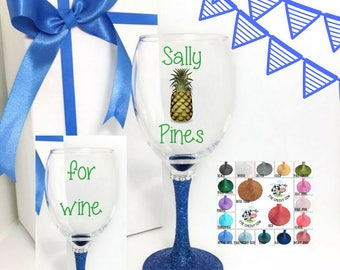 Pineapple gifts, pineapple gift ideas, glass pineapple, pineapple wine glass, pineapple wine glasses, custom wine glasses for sisters,