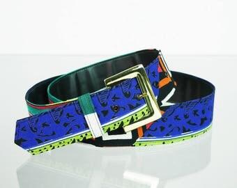 Brightly patterned vintage textile belt