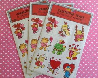 Vintage Valentine Stickers, Valentine Seals, Mint Brand New in Original Sealed Packaging, Teacher Gift, Class Valentine, Envelope Seals