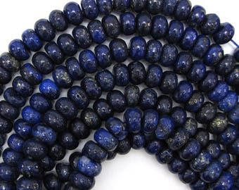 "10mm blue lapis lazuli rondelle beads 15.5"" strand 12764"