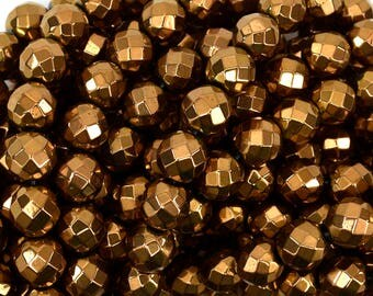 """8mm faceted copper hematite round beads 15.5"""" strand 38956"""
