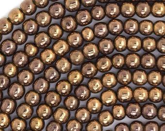 "4mm hematite round beads 15.5"" strand copper color 36170"
