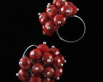30mm faceted crystal beads ring size 5-9 R41543 16067