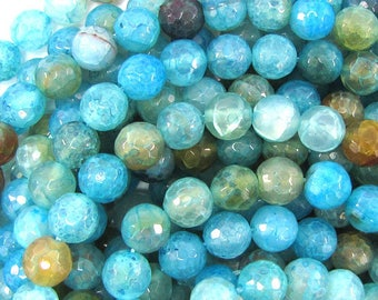 "10mm faceted blue crab fire agate round beads 15"" strand 32189"