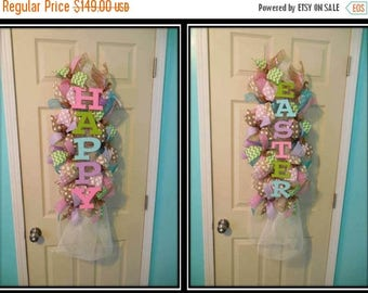 SALE Easter Swag, Double Door Easter Swags, Double door easter wreaths, Easter wreaths,happy Easter, Easter Wreath,mesh Easter