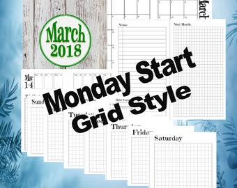 b6 Slim - March, Dutch Door Travelers Notebook Printable Inserts, day on 1 page, Monday Start, Grid Style