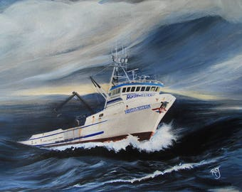The Northwestern, crab boat paintings, deadliest catch, storm paintings, boat prints, crab fishing, pictures of crab boats, Alaskan painting