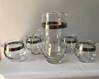 Mid-Century Libbey silver band barware set with four roly poly glasses and pitcher