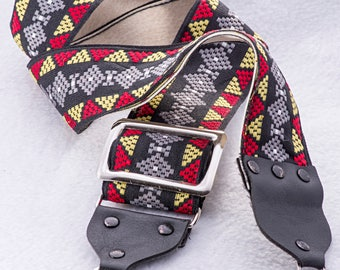 """Vintage Geometric Black, Red, White, and Blue Camera Strap, 42"""" Long, 2"""" Wide, for Canon, Nikon, Pentax, Sony, or Others"""
