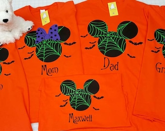 Custom Personalized Halloween Disney Mickey or Minnie on Black or Orange Short Sleeve T-shirts - Optional Back Text and Number